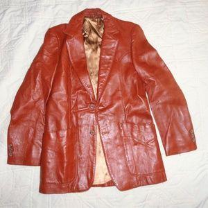 Vntg Western 70s Leather Jacket Sz 38 Burnt Orange